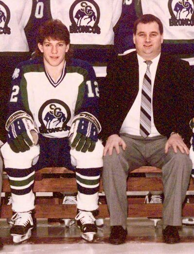 Graham James (right) and Sheldon Kennedy are seen in a picture of the 1989 Memorial Cup edition of the Swift Current Broncos.
