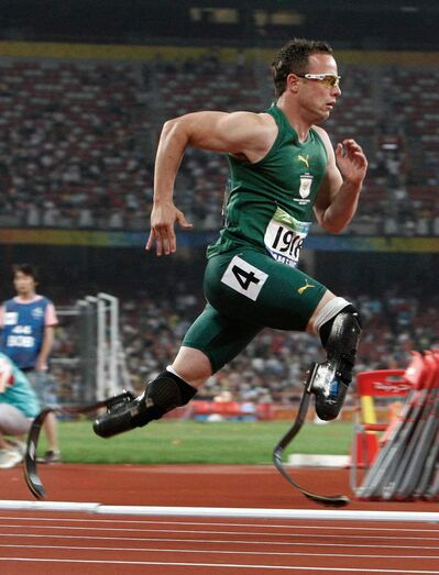 Oscar Pistorius of South Africa competes in the Men's 400m T44 final at the Beijing 2008 Paralympic Games in Beijing, China. Paralympic superstar Oscar Pistorius was charged  Feb. 14, 2013, with the murder of his girlfriend who was shot inside his home in South Africa.
