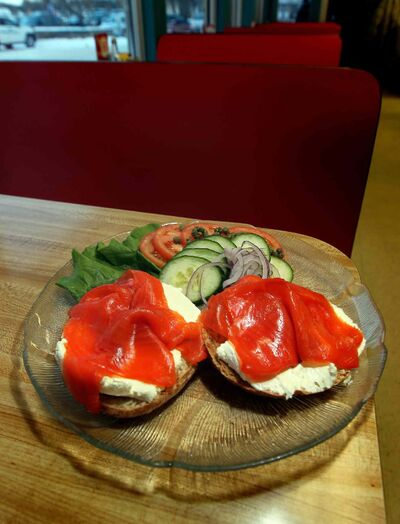 Bernstein's deli bagel with cream cheese and lox.
