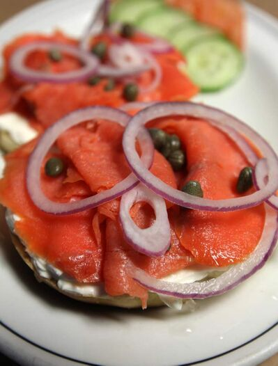 Bagel with cream cheese and lox at Ira's Deli.