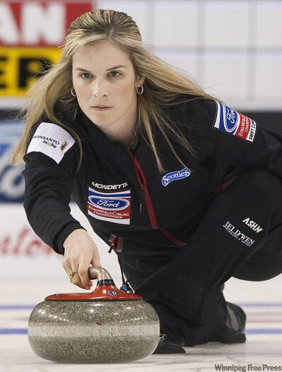Canada skip Jennifer Jones throws her rock while playing against Germany during the 2010 World Women's Curling Championships playoffs in Swift Current, Sask., on Friday.