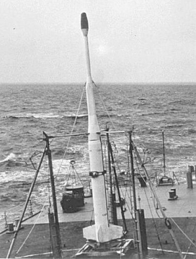 US Navy [Public domain], via Wikimedia Commons</p><p>In this 1958 photo, an X-17 rocket with a nuclear warhead is seen aboard the USS Norton Sound during Operation Argus testing.</p>
