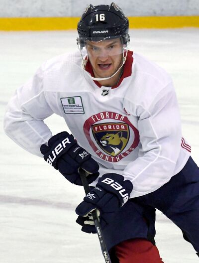 Aleksander Barkov of Florida Panthers takes part in a training session in Helsinki, Finland, Sunday Oct. 28, 2018, ahead of their ice hockey NHL Global Series matches against Winnipeg Jets on Thursday and Friday.