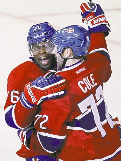 Montreal Canadiens' P.K. Subban (left) doesn't want to see the fans get hurt.