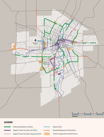 Map of rapid-transit plans.  See the full report for details.