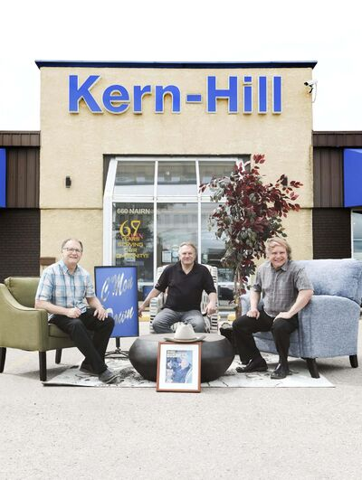 From left, Nick Jr., Andy and Scott Hill are keeping their father Nick's business, and his spirit, alive at Kern-Hill Furniture. (Ruth Bonneville / Winnipeg Free Press)</p>