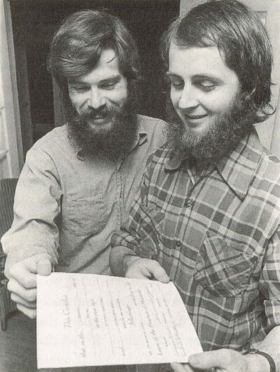 Winnipeg Tribune archives</p><p>Chris Vogel (left) and Richard North look over their marriage certificate in this 1974 photo. The province refused to recognize their nuptials.</p>