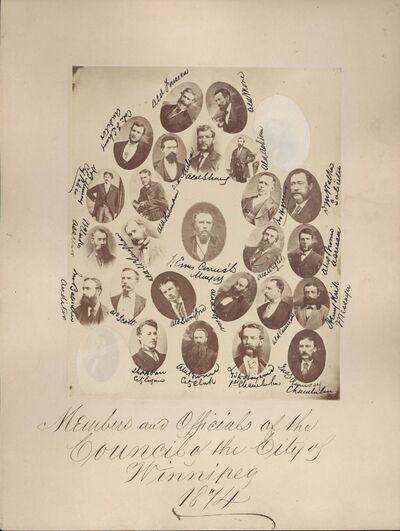 CITY OF WINNIPEG ARCHIVES </p><p>Francis Evans Cornish (centre), the first mayor of the City of Winnipeg, with members and officials of the 1874 council. Cornish defeated William F. Luxton 383 votes to 179, despite there only being 382 actual eligible voters, by exploiting a loophole that allowed property owners to vote once for each property owned. He wasn't mayor long. After becoming a member of the Manitoba legislative assembly in December of that year he lost his civic re-election campaign.</p><p>Pictured in addition to Cornish are: aldermen James Ashdown, John Cameron, William Gomez Fonseca, John Higgins, Alexander Logan, James McLenaghan, John More, Robert Mulvey, Thomas Scott, Andrew Strang, Herbert Swinford, William Thibaudeau and Archibald Wright; A.M. Brown, city clerk; Lyster Hayward, chamberlain; James S. Ramsay, chamberlain, Henry (Harry) Kirk, messenger; Alex Brown, assessor; D. M. Walker, solicitor; Colin F. Strang, auditor, D.B. Murray, chief of police, Willoughby Clark, assessor; (unreadable), auditor; Thomas Parr, city engineer.</p>