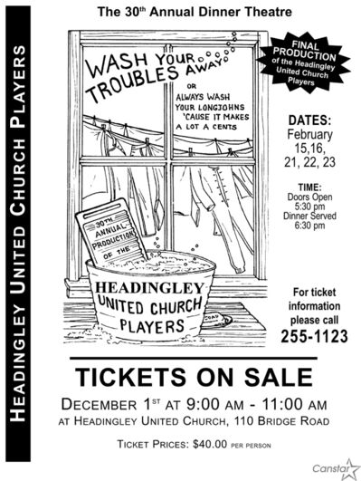 Poster for the last show by the Headingley United Church Players.