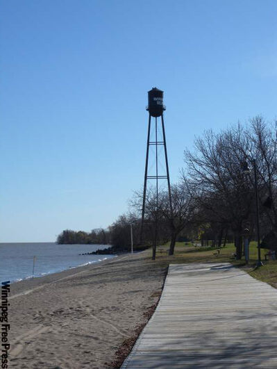 Where an amusement park and original boardwalk once stood, Winnipeg Beach Provincial Park now spans the length of the town's beach. The park features a grass picnic area and a re-creation of the town's famous boardwalk.