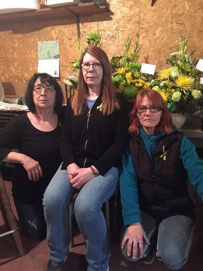 Humboldt Florist owner Kathy Poppel, centre, along with staff members Ruth Brinkman, left, and Wendy Wegleitner pose for a photo in this recent handout photo. Humboldt Florist staff memebers have been working non-stop to fill orders from around the world after the Humboldt Broncos bus tragedy. THE CANADIAN PRESS/HO - Ruth Brinkman