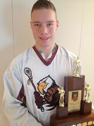 The Manitoba Gryphons' Duncan Thomson was chosen to receive the Dave Stekler Award, which is given to the top scorer in the Manitoba Junior B Lacrosse League.