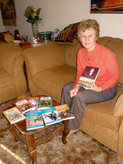 Headingley author Irene Ternier Gordon displays her latest book, The Laird of Fort William, along with some of her other history books.