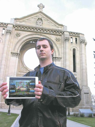Tanner Cheliak, pictured here at St. Boniface Cathedral, one of the Winnipeg landmarks that displays during play on his new PokerMIX smartphone app.