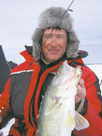 Don Lamont with a Lake Winnipeg walleye caught on the Salmo Chubby Darter.