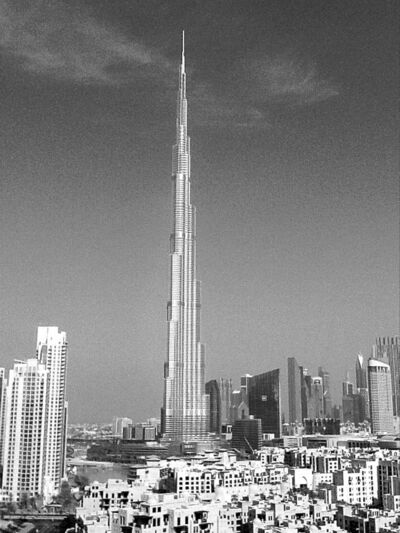 View of Burj Khalifa, the world's tallest building, taken from Faith Johnston's hotel room.