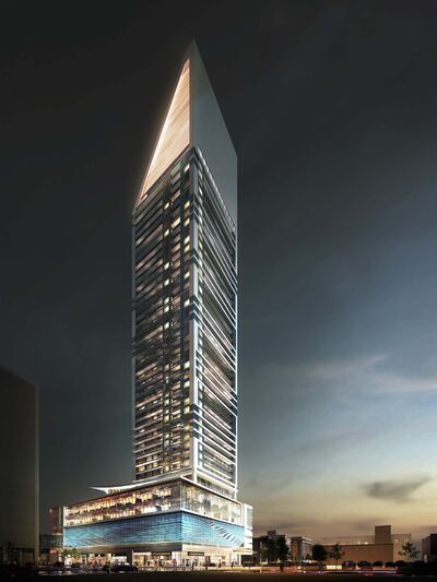 A rendering of the SkyCity downtown condo development slated for construction next year.</p>