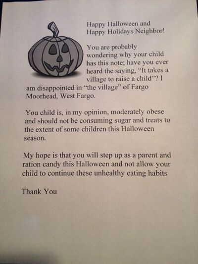 "The alleged letter ""Cheryl"" was to hand out to obese children in lieu of candy."