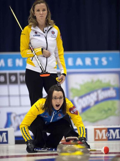Alberta skip Val Sweeting calls a shot as Manitoba skip Chelsea Carey looks on during their semifinal match at the Scotties Tournament of Hearts curling action on Saturday in Montreal. Carey's team fell 6-5 to Sweeting.