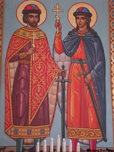 A close-up of icon painted on the wall of St. Boris and St. Hlib known as the first martyrs on Slavic soil. Iconography by Sviatoslav Hordynski, possibly with the assistance of Dmytro Bartoshuk.