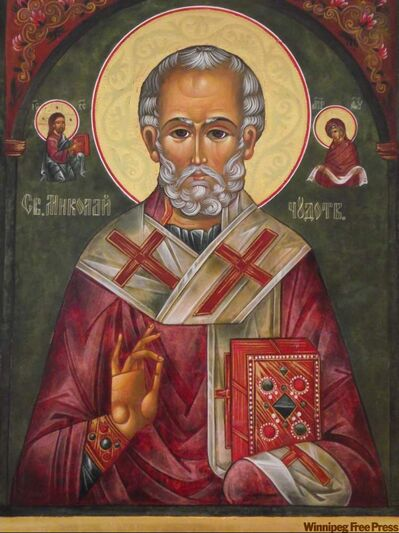 A close-up of Vera Senchuk's work — the icon of St. Nicholas, the Miracle-Worker.