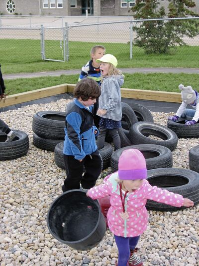 Children play at the new Country Kids Learning Centre in St. Francois Xavier.