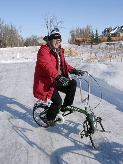 Headingley's Paul Brault is shown on one of the ice bikes that he bought in China after seeing similar bikes used on a frozen lake in Beijing.