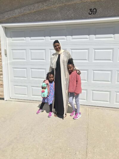 Amal Shire with her nieces Sidra and Suhail. </p>