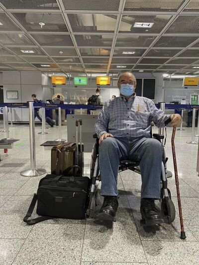 SUPPLIED</p><p>Max Johnson, seen at the airport in Frankfurt, Germany, while on his way to Lithuania to have knee replacement surgery.</p></p>