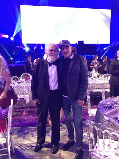 SUPPLIED</p><p>Mandshein with Ronnie Hawkins at the David Foster Foundation Gala last weekend.</p>