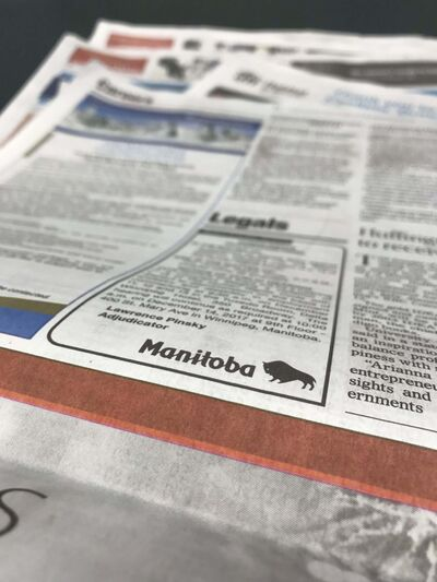 MIKE APORIUS / WINNIPEG FREE PRESS</p><p>Manitoba could become the first jurisdiction to drop the requirement to publish official notices in local newspapers.</p>