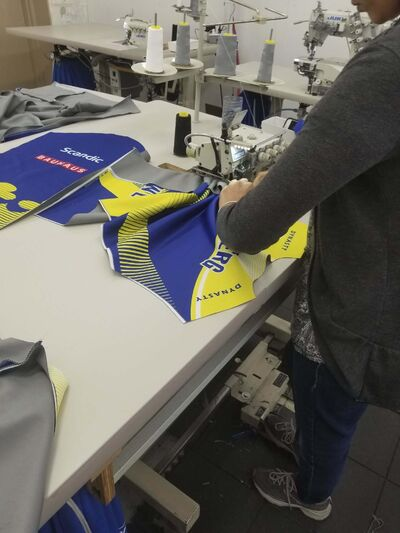 <p>Sweden&rsquo;s World Cup uniforms under construction at Dynasty Curling.</p>