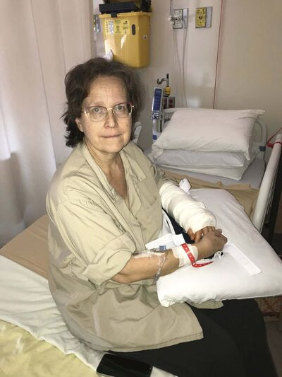 CAROL SANDERS / WINNIPEG FREE PRESS</p><p>Francine Wiebe has been in Grace Hospital for a week after the rescue dog her family adopted attacked her Nov 26 - it broke her arm and she required surgery and 20 stitches.</p>