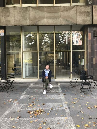 Writer Jason Syvixay poses in front of Prague's Centre for Architecture and Metropolitan Planning (CAMP). (Jason Syvixay)