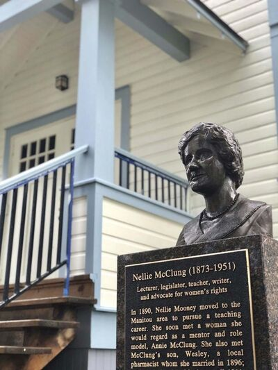 SUPPLIED</p><p>The Nellie McClung statue in Manitou.</p></p>