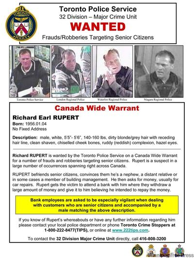 Richard Rupert also hit up victims in Toronto, police there say.