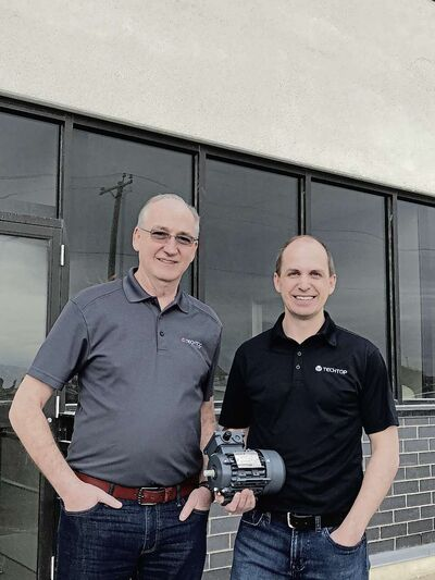(From left) Techtop Canada's president Joe Kelly and vice-president Shane Hickey are shown standing outside the company's new location on Ronn Road in Brookside Business Park in the RM of Rosser's section of CentrePort Canada.