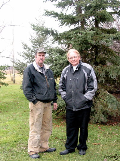Bruno Bernardin (left) and Jean Aquin are working to attract investors and tenants for their proposed adult living complex in Elie.