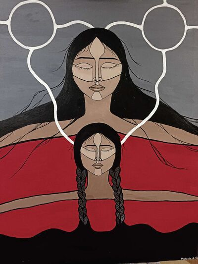 Mackenzie Anderson's painting, Nikawiy Nitanis, won first place in the Historica Canada Indigenous Arts & Stories contest.