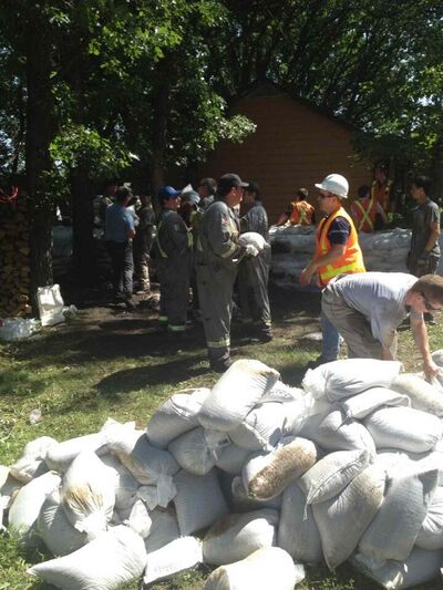 Sandbagging efforts are underway in Brandon today.