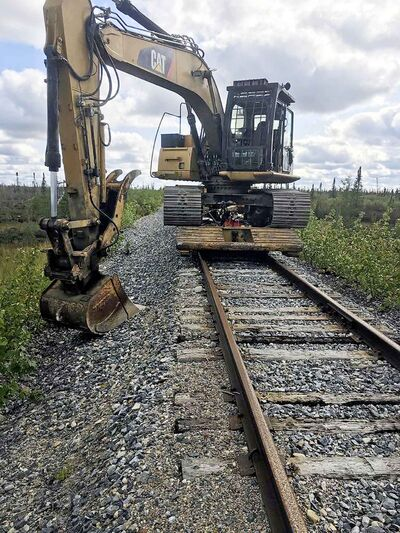 Arctic Gateway / FACEBOOK     Posted on September 8 at 6:43 PM    Equipment starting repairs on the track washouts on the road to Churchill, Manitoba  - for Dylan Roberston story / Winnipeg Free Press