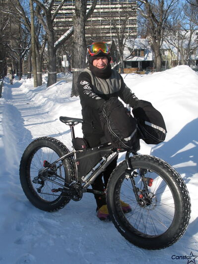 Local cyclist Lindsay Gauld celebrated his millionth kilometre at a ceremony at The Forks on Feb. 2.