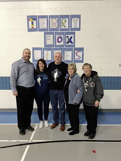 Fred Fox visits Starbuck School in April of 2019. From left, Principal Dale Fust, current run co-ordinator Cathy Burton, Fred Fox, Janis McMorran (the school's former run co-ordinator) and Terry Fox's aunt Jeanine. (PHOTO SUPPLIED BY CATHY BURTON)