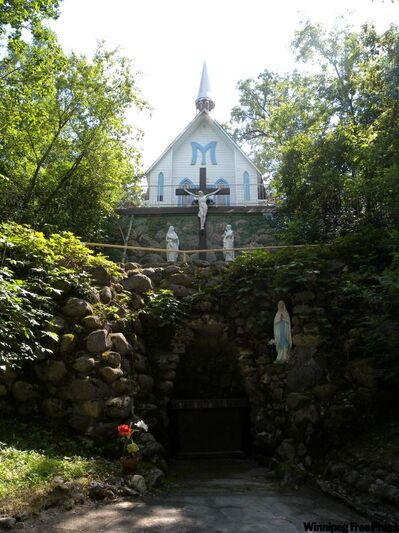 The Grotto of Our Lady of Lourdes, near St. Malo Provincial Park, and its accompanying chapel were constructed between 1896 and 1904 by Father Abel Noret and his parishioners.