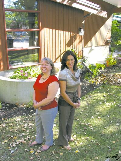 Kyla Wiebe (left) and Margaret Haugen outside Jocelyn House on Egerton Road.