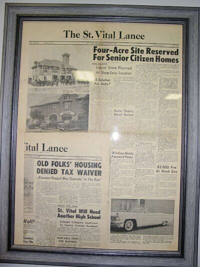A story from the St. Vital Lance from July 1959 reporting the original construction of the Chesterfield Housing Development hangs on a wall at the site.