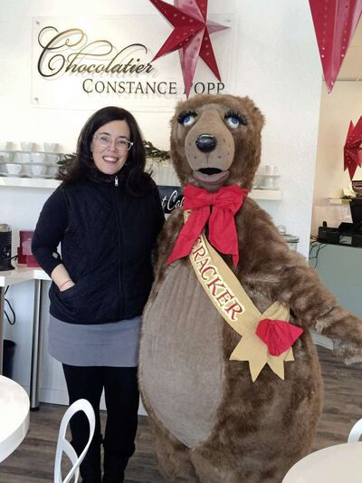Constance Menzies, pictured with Filbert the Bear, has a cameo role in RWB's production of Nutcracker on Dec. 19.
