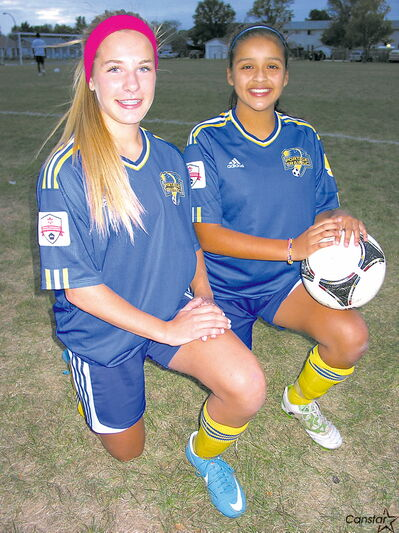 Samantha Ford (left) and Isabela Vergara can't wait to head to Ontario next month to compete in the Canadian Soccer Association Club Championships.
