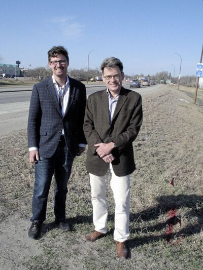 Coun. Matt Allard (St. Boniface) and Coun. Brian Mayes (St. Vital) pictured at the side of Fermor Avenue, where work recently began on the Fermor Avenue bridge and roadways project. (SIMON FULLER/CANSTAR NEWS/THE LANCE)