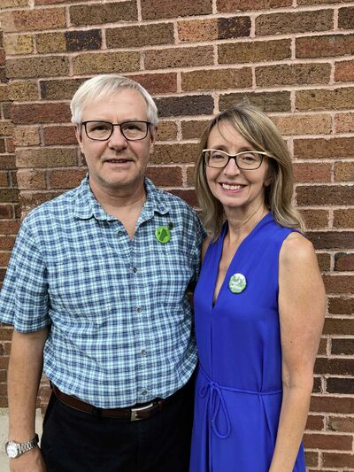 Roger Schellenberg, who is the Green Party of Manitoba candidate for Riel, is pictured with his wife, Fran.